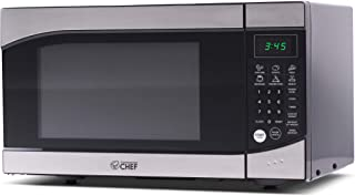 Commercial Chef CHM009 Countertop Microwave Oven 900 Watt, 0.9 Cubic Feet, Stainless Steel Front, Black Cabinet, Small, Trim