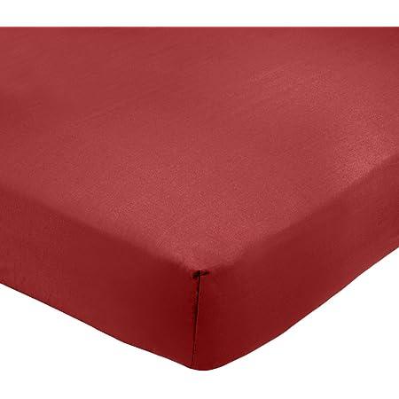Amazon Basics Drap-housse en polycoton 200fils Bordeaux 135 x 190 x 30 cm