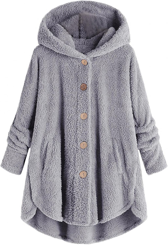 Womens Fitted Wool Coat Winter Plus Size Button Plush Trench Hooded Loose Windbreaker Fluffy Wool Outwear Jacket Tops