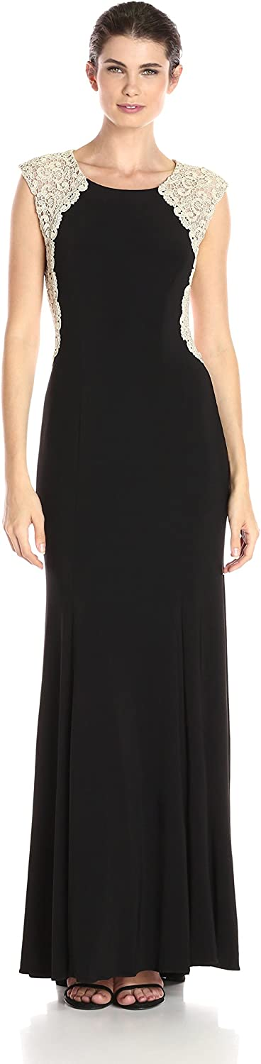 Xscape Womens Long Ity with Chemical Lace Back Dress
