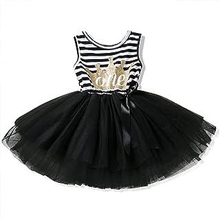 NNJXD Girl Shinny Stripe Baby Girl Sleeveless Printed Tutu Birthday Dress Size (80) 1 Years Black 1(Sleeveless)