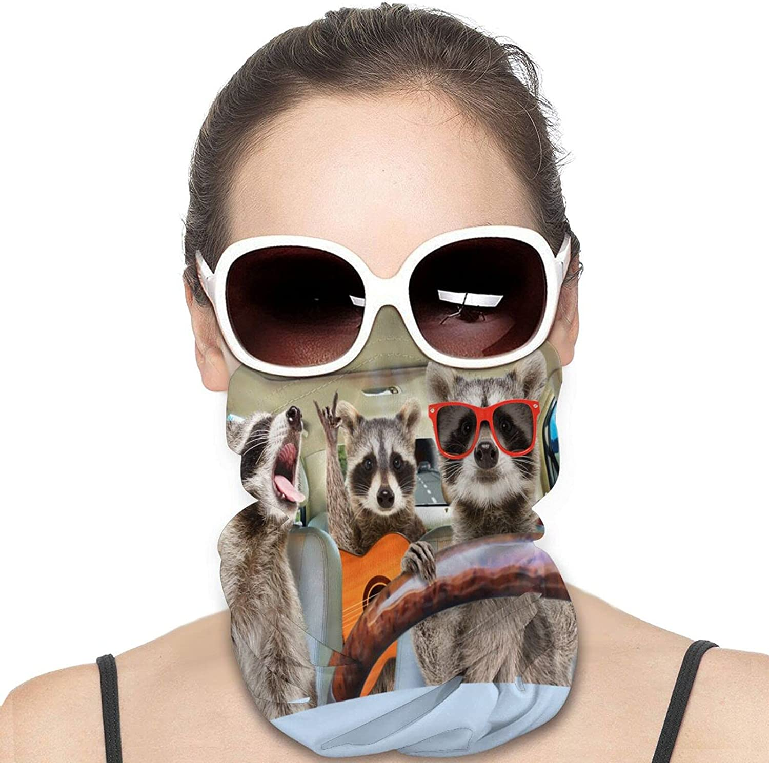 Three Funny Raccoon Ride in The Car Round Neck Gaiter Bandnas Face Cover Uv Protection Prevent bask in Ice Scarf Headbands Perfect for Motorcycle Cycling Running Festival Raves Outdoors