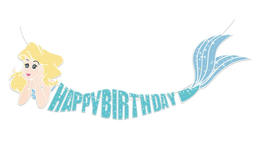 Mermaid Happy Birthday Banner Decor Decorations Under The Sea Party Supplies 5ft