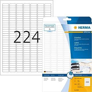 HERMA Etichette Universali, 25,4 x 8,5 mm, Etichette Adesive A4 per Stampante, 224 Etichette per Foglio, Bianco