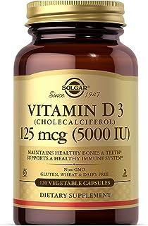 Solgar Vitamin D3 (Cholecalciferol) 125 mcg (5,000 IU) Vegetable Capsules - 120 Count