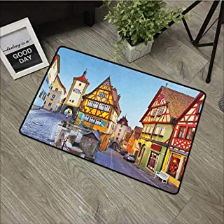 Interior mat W35 x L47 INCH German,Rothenburg ob der Tauber Bavaria Germany Famous Street with Colorful Classic Houses, Multicolor Easy to Clean, Easy to fold,Non-Slip Door Mat Carpet