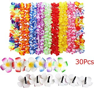 Fighting to Achieve Hawaiian Flowers Necklaces Wreaths(18Pcs) Hair Clips(12Pcs) for Holiday Beach Party Decorations