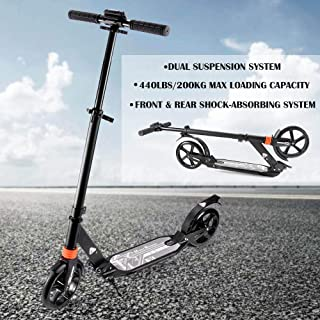 Scooter for Adults Teens Easy Folding Kick Scooter with Shoulder Strap 8 inches Big Wheels Adjustable Rear Fender Brake Durable Push Commuter Scooter Support 220 lbs Suitable for Age 12 Up