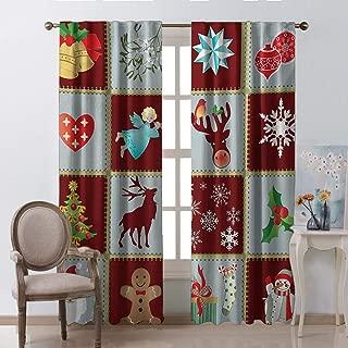Angel Curtains for Bedroom Tree Reindeers Noel Santa Presents Snowman Pine Tree Traditional Burgundy Blue Grey Kids Room Living Room Dorm W72 xL72