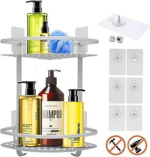 homyhomi 2ndGen Sticker 2Tier Shower Rack,No Drill Shower Caddy Corner,Adhesive Shower Organizer Corner,Shower Corner Shelf,Shampoo Holder for Shower