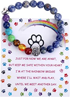 Unijew Pet Memorial Gifts,Rainbow Bridge Bracelet for Beloved Dog Cat,8MM Mixed Color Bead 7 Chakra Pet Memorial Bracelet ...