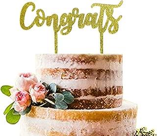 Gold Congrats Cake Topper | Acrylic Graduation Cake Toppers 2019 | Graduation Cake Decorations | Cake Toppers for Birthday, Wedding, Anniversary, Engagement, Retirement, Promotion Celebration