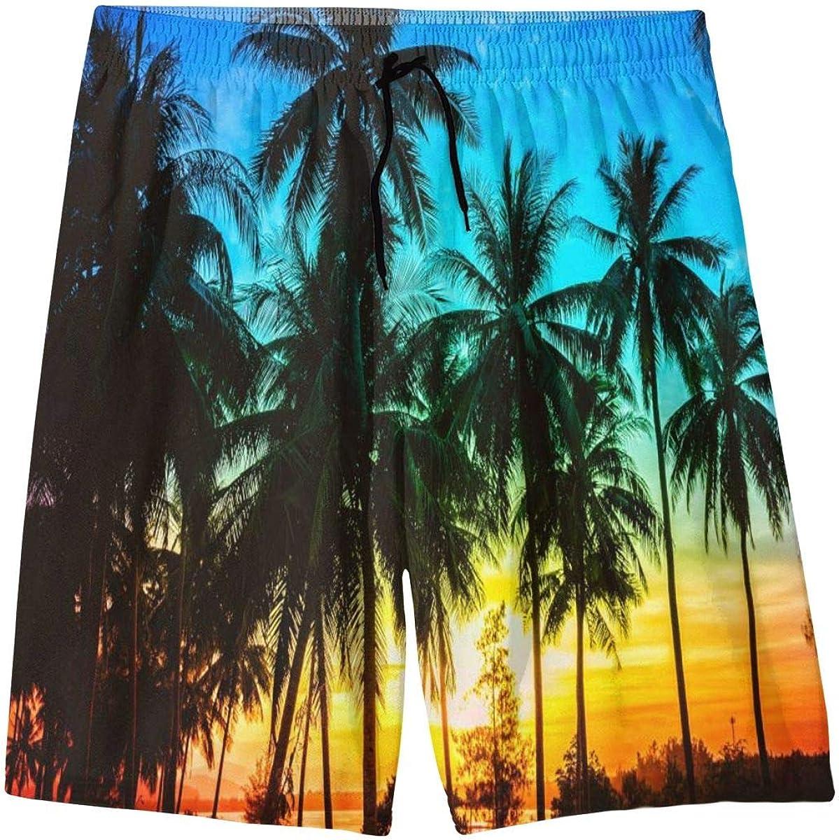 FeHuew Colorful Palm Tree Teens Swim Trunks 20