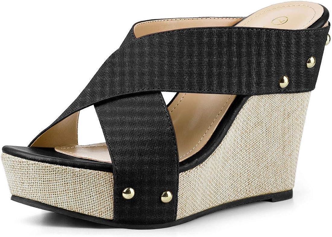 Allegra K Women's Recommended Platform Wedge Slide Sandals Max 45% OFF