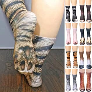 Jinxuny 3D Print Animal Foot Hoof Paw Feet Calcetines de tripulación Unisex Adultos Digital Simulation Calcetines Tiger Dog Cat calcetín para Mujeres Hombres (Pattern : Cat)