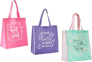 3 Religious Themed Inspirational Christian Tote Bags for Women | Matthew Verse, It is Well with My Soul, Faith Theme | Reu...