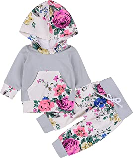 Emmababy Baby Girls' Winter Floral Hoodie Pocket Pants Set Leggings 2 Piece