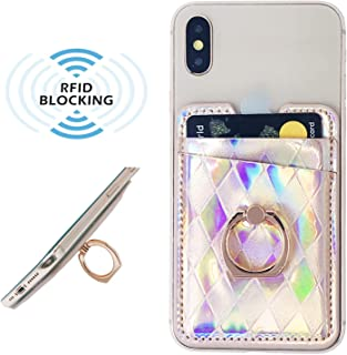 Oddss Cell Phone Card Holder RFID Blocking Sleeve with Ring Stand PU Leather Sticker on Back of Phone Wallet Pocket Pouch Sleeves Cover for Most Smartphones, Android and More (Iridescent Rose Gold)