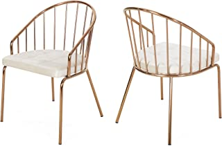 Christopher Knight Home Marcia Modern Velvet Dining Chair with Stainless Steel Frame (Set or 2), Beige and Rose Gold