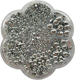 Chenkou Craft 3000PCS 1 Box Silver Round Flatback Half Pearls Bead Loose Beads Gem (Silver Half Ball)