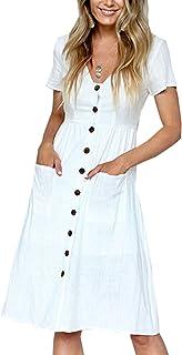 57be57b63d Angashion Women s Dresses-Short Sleeve V Neck Button T Shirt Midi Skater  Dress with Pockets