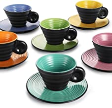 Hoomeet Ceramic Espresso Cups and Saucers, 2.5 oz Embossed Demitasse Cups, Set of 6, Six Colors Assorted