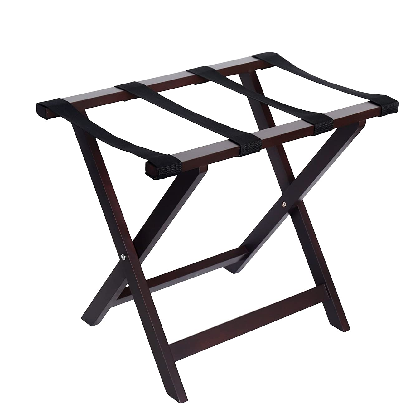WELLAND Wood Folding Luggage Rack Luggage Stand for Suitcase for Home Bedroom Guestroom, Espresso