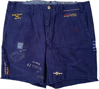 Men's Nautical Patched/Stitched/Embroidered Navy Washed...