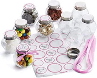 Hayley Cherie - 3 oz Round Glass Jars with Pink Ribbons and Stickers (Set of 10) - Silver Leak Proof Lids - Perfect for Candy, Spices, Baby Showers, Party Favors, Christmas