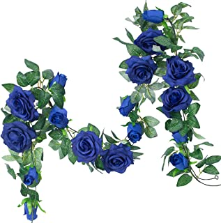 PARTY JOY 6.5Ft Artificial Rose Vine Silk Flower Garland Hanging Baskets Plants Home Outdoor Wedding Arch Garden Wall Decor,2PCS (Royal Blue)