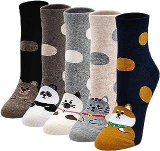ZFSOCK, Calcetines de Mujer Divertidos de Algodón, Patrón de Dibujos Animados Lindo Animal Perro Gato, 5 pares, Tamaño 36-42