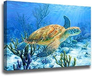 Bathroom Decor Sea Turtle Pictures Painting Wall Art Beach Decor Canvas Prints Nautical Bathroom Wall Decor Child's Room Canvas Wall Art Coastal Decor Ocean Decor Small Framed Artwork for Walls