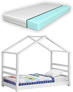 Lit d'enfant Design Maison avec Matelas Lit Cabane Pin Feuille de Placage Mousse à Froid Housse100% Polyester Blanc Confo...
