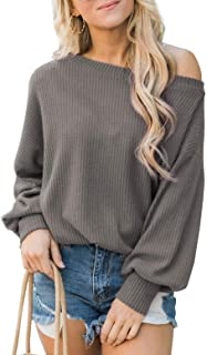 GUOCAI Women's Casual Solid Color Waffle Long Sleeve Tops Blouse T Shirts