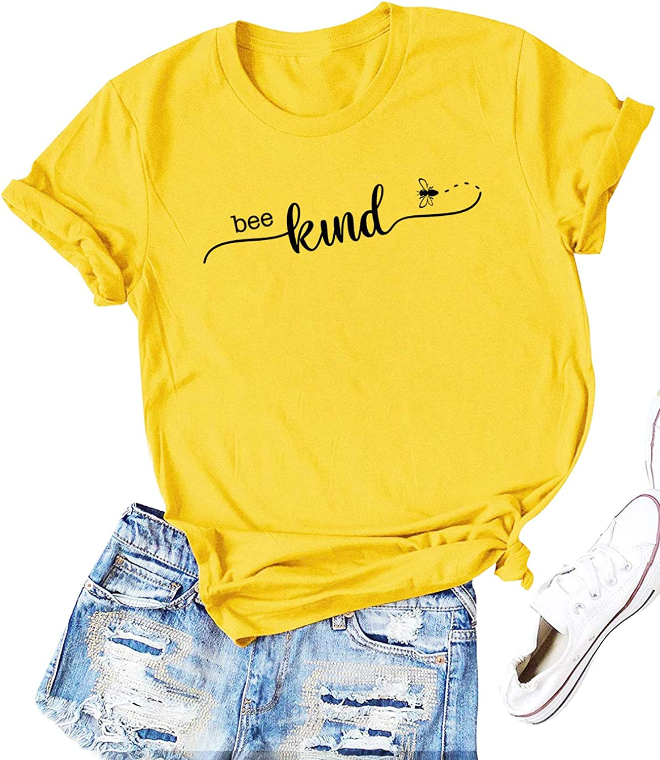Be Kind Bee Graphic White Crop Top
