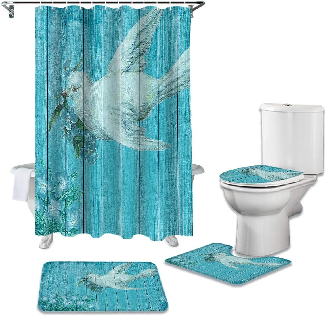 Limited price Animals 4 Pcs Philadelphia Mall Bathroom Sets with Non-Slip Curtain Rugs Shower To