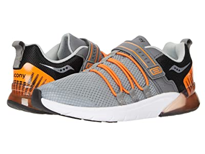 Saucony Kids S-Flash Glow 2.0 (Little Kid) (Grey/Orange) Boys Shoes
