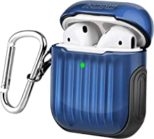 SZMDLX AirPods 2 & 1 Case, Protective AirPods Cover Skin, Portable Soft TPU + PC AirPods Case Accessories with Keychain for Apple AirPods Wireless and Wired Charging Case, Front LED Visible (Blue)