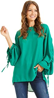 SONJA BETRO Women's Crew Neck Rouched Balloon Long Sleeve Tunic Top Fashion Green/Small