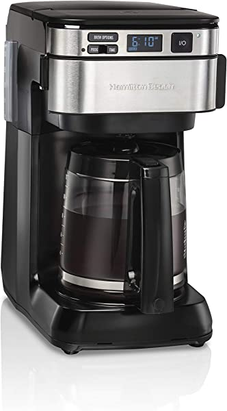 Hamilton Beach Programmable Coffee Maker 12 Cups Front Access Easy Fill Pause Serve 3 Brewing Options Black 46310