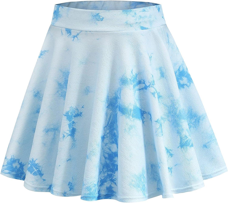 Ylikren Women's Casual Office Tie-Dyed Prints Short Skirt Pleated Skirt Short Summer Skirt