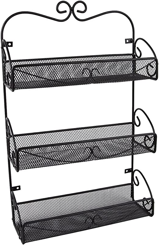JMiles UH SR245 3 Shelf Wall Mounted Spice Rack Hanging Shelf Rack For Kitchens Bathrooms And More Storage Solution For Spices Cosmetics Soaps And More