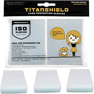 TitanShield (150 Sleeves/Clear) Small Japanese Sized Trading Card Sleeves Deck Protector for Yu-Gi-Oh (Yugioh), Cardfight!! Vanguard