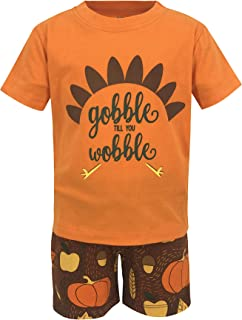 Unique Baby Boys Gobble Til You Wobble Thanksgiving Turkey Outfit Shorts