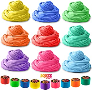 Squeeze Craft Puff Slime - 9 Pack Jumbo Fluffy Mud Putty Assorted Bright Colors - 2 Oz. per Container - for Sensory and Tactile Stimulation, Event Prizes, DIY Projects, Educational Game, Fidget Toy