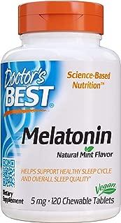 Doctor's Best Melatonin, Non-GMO, Vegan, Gluten Free, Helps Promote Healthy Sleep, 5 Mg, 120 Chewable Tablets