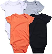 SOBOWO Unisex-Baby Solid Cotton Bodysuits, Multi Blank Infant Romper Shirt for Boys Girls 4 Pack