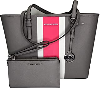 MICHAEL Michael Kors Jet Set Travel MD Carryall Tote bundled with Jet Set Double Zip Wristlet/Wallet (Pearl Grey Center Stripe)