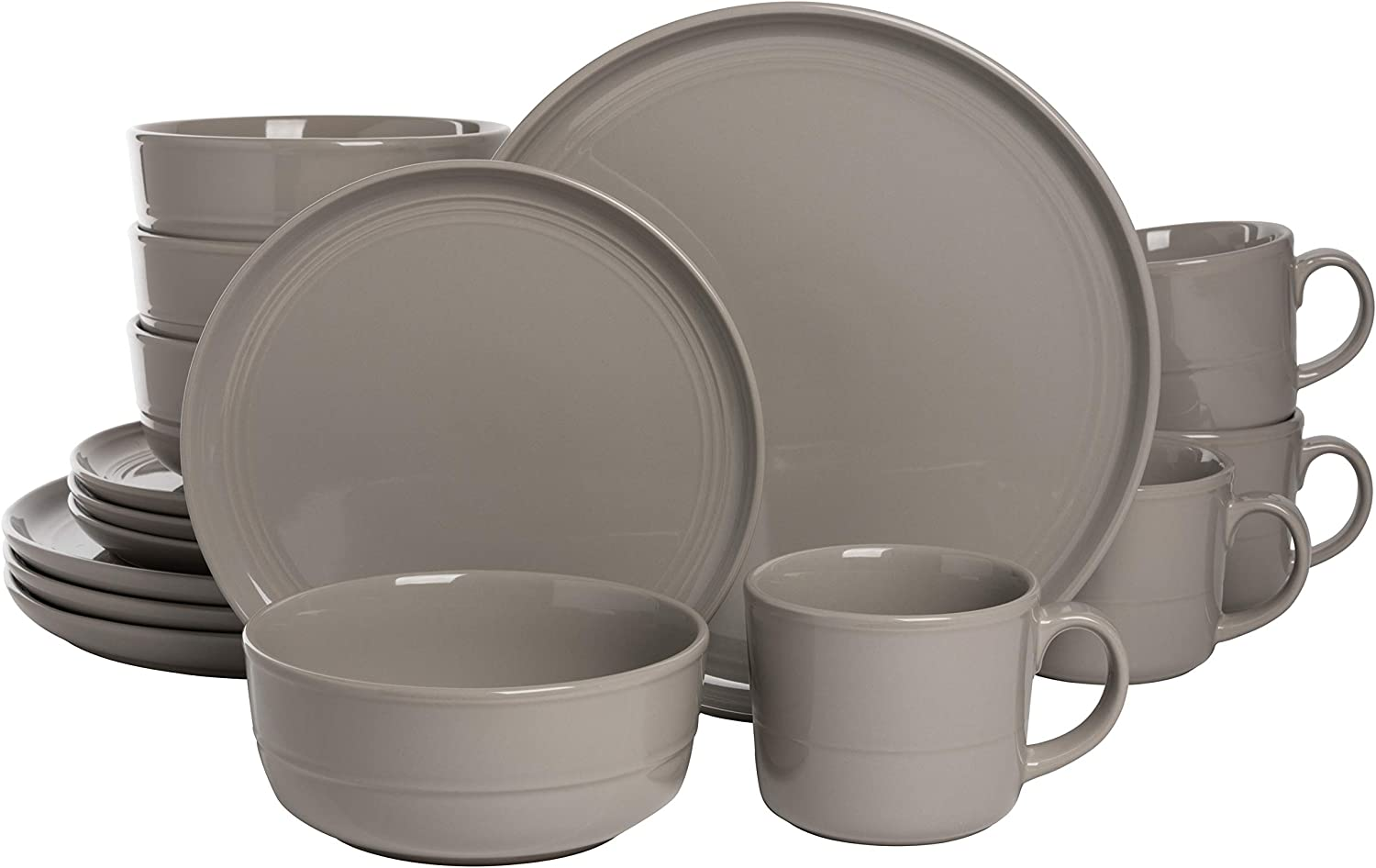 10 Strawberry Street Double Line Piece Genuine Free Shipping Gray Safety and trust 16 Set Dinnerware