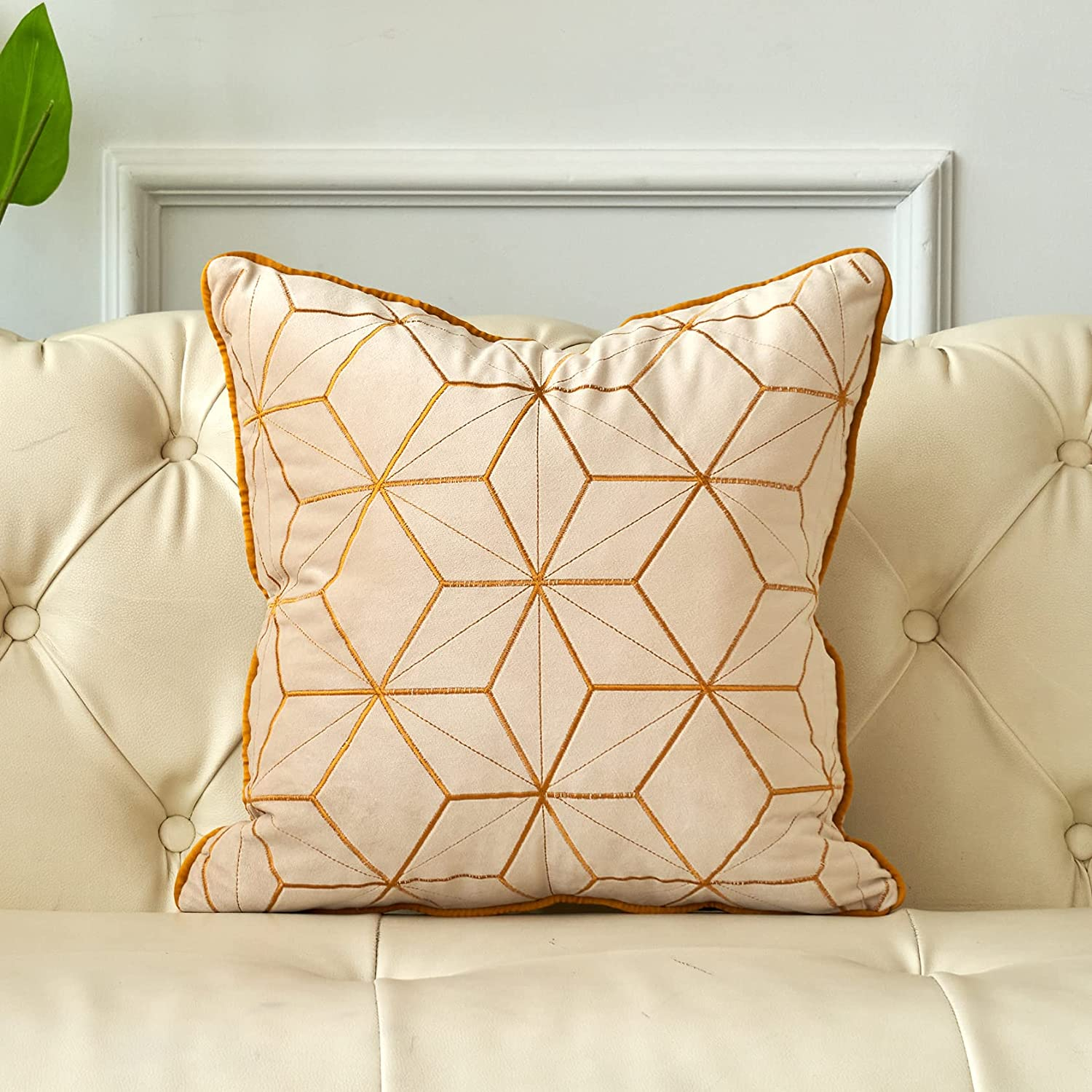 FOOCHY White Columbus Mall Velvet Throw Pillow Pla Embroidery 16x16 Selling Inch Cover